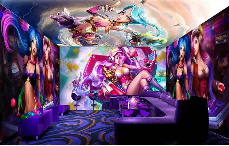 custom 3d photo wallpaper mural Hero alliance beauty music theme space HD photo KTV Hotel mural wallpaper non-woven wall sticker