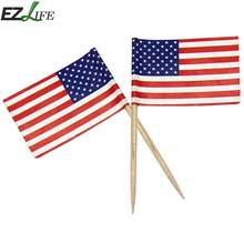 79764346d488 50pcs pack Mini American Flag USA Flag Independence Day Banner Mini US Hand  Held Stick Flags on Wood Stick with Round Top GF038