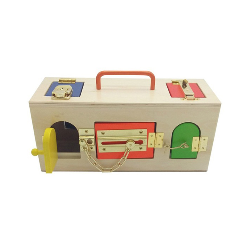 Montessori Materials Colorful Locks Box Toys For Kid Children Preschool Educational Toy Memory Game Wooden Montessori Lock Tool