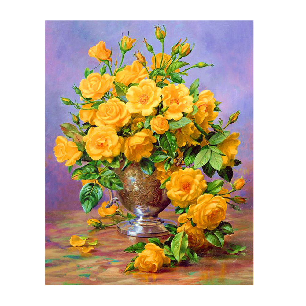 ộ_ộ ༽Yellow Rose Needlework DIY Diamond Painting Cross Stitch Resin ...