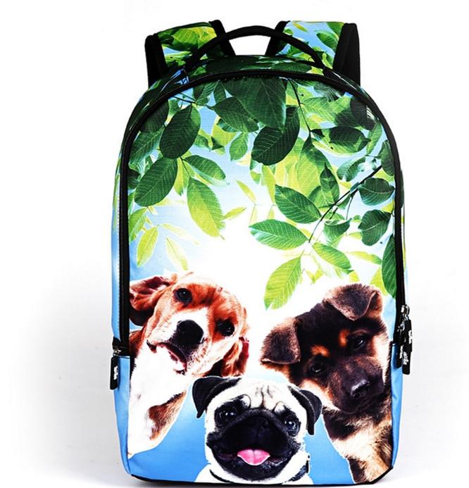 2018 Animal Backpack 3D Lovely Dogs School Backpacks for Teenagers Men Tourism Bag Women Travel Leopard Backbag