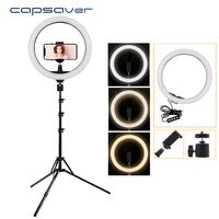 capsaver 12 inch LED Annular Lamp Ring Light Dimmable 2700K/5500K CRI90 12W USB Photographic Lighting for Video YouTube Photo