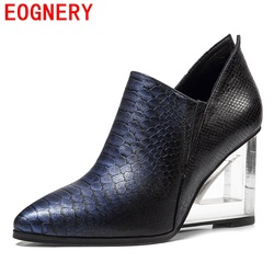 Egonery fashion pumps women genuine leather high upper shoes embossed leather pointed toe pumps high heels.jpg 250x250