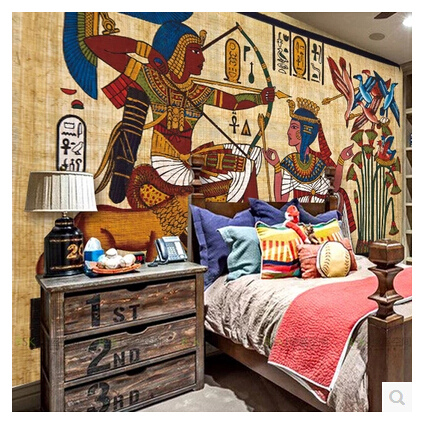 Custom vintage egyptian pharaoh figure large mural for Egyptian wallpaper mural
