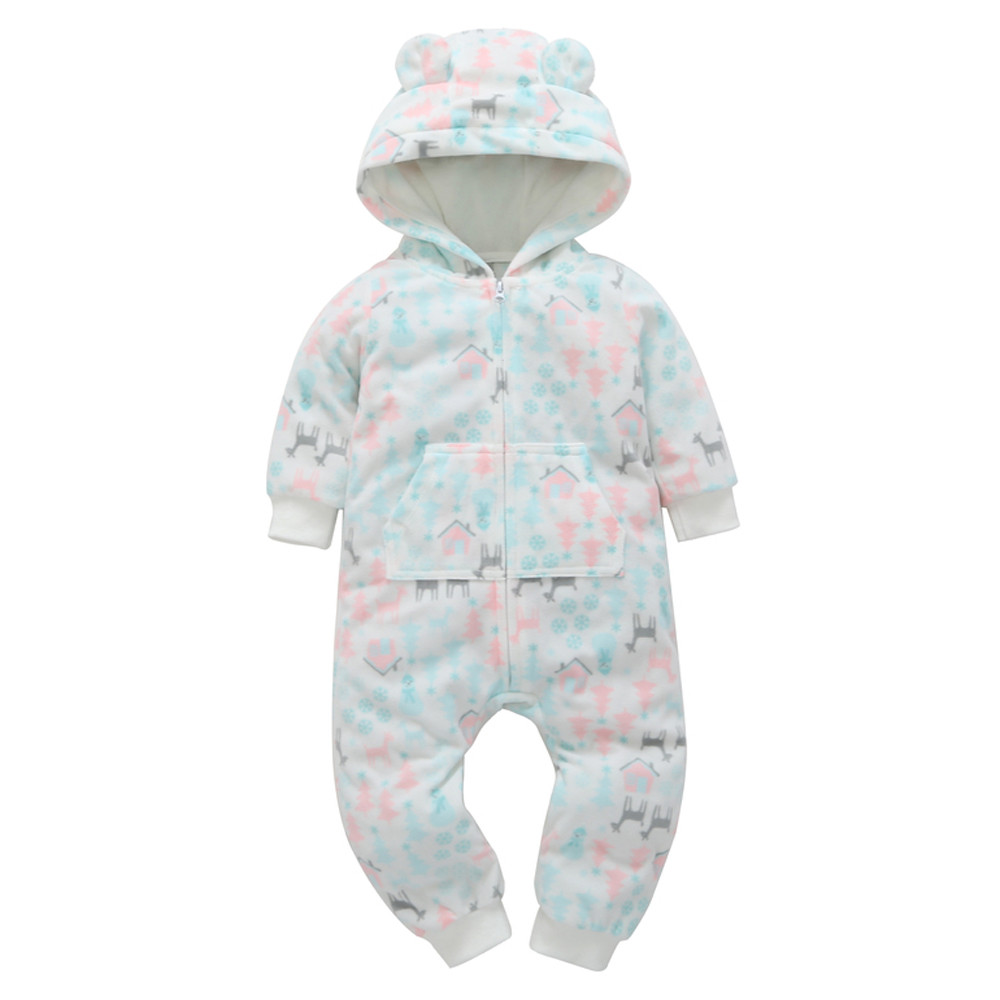 Infant Baby Boy Girl Thicker Print Hooded Romper Jumpsuit Outfit Home Clothes Forest Print Long Sleeve Baby Rompers Warm