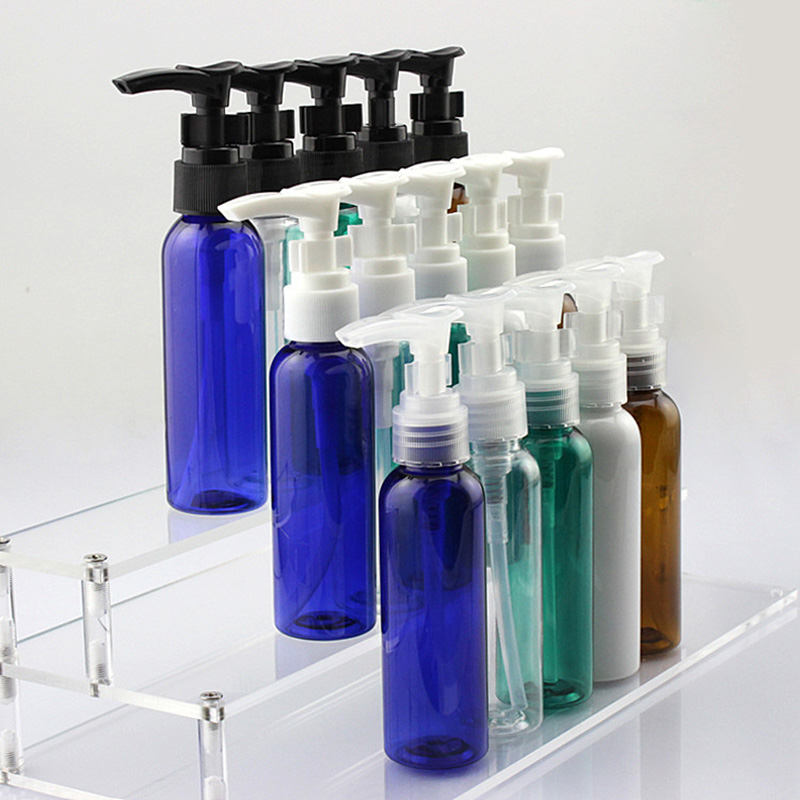 Brown/Blue/Green/White Refillable 60ml Plastic Press Pump Bottle Cosmetic Cream Shampoo Shower Gel Pump Bottles Free Shipping-in Refillable Bottles from Beauty & Health    3
