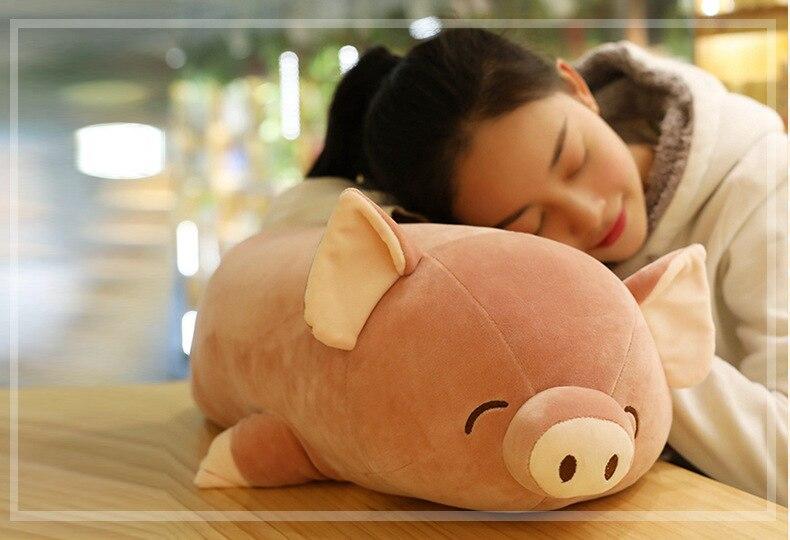 Moyen peluche cochon jouet doux brun amour doux cochon poupée cadeau environ 60 cm 2672