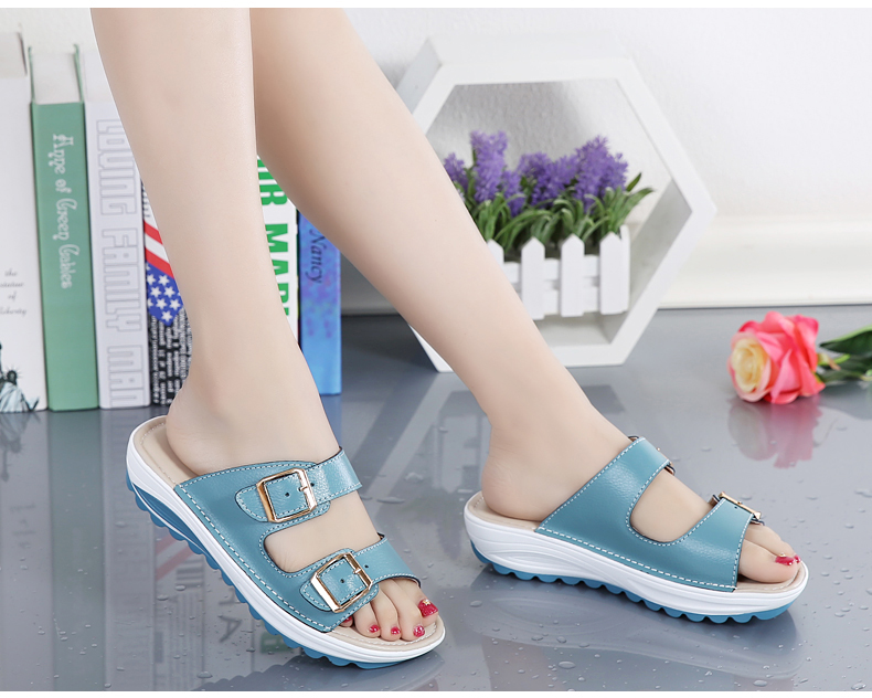 kilobili women slippers buckle real leather slides shoes solid thick sole heels beach sandals women outside flip flops summer