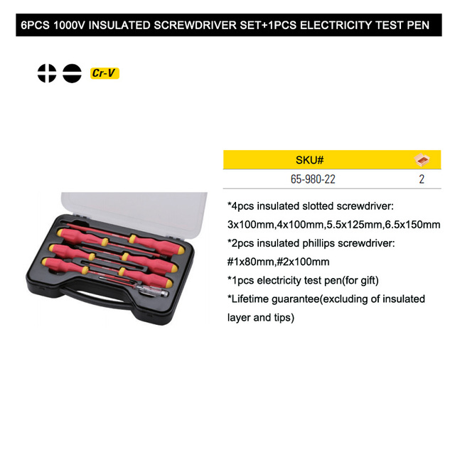 Stanley 6pcs VDE 1000V professional slotted and phillips insulated screwdriver set kit 1000-volt electrician screwdrivers kits 6