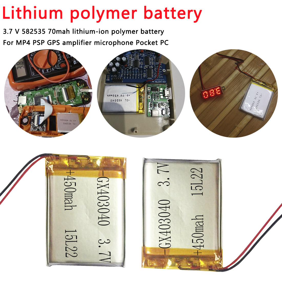 1 Pcs <font><b>403040</b></font> Battery <font><b>3.7V</b></font> 450mAh Li-polyester Rechargeable Batteries for Power bank Gps DVD Computer Tablets lithium image