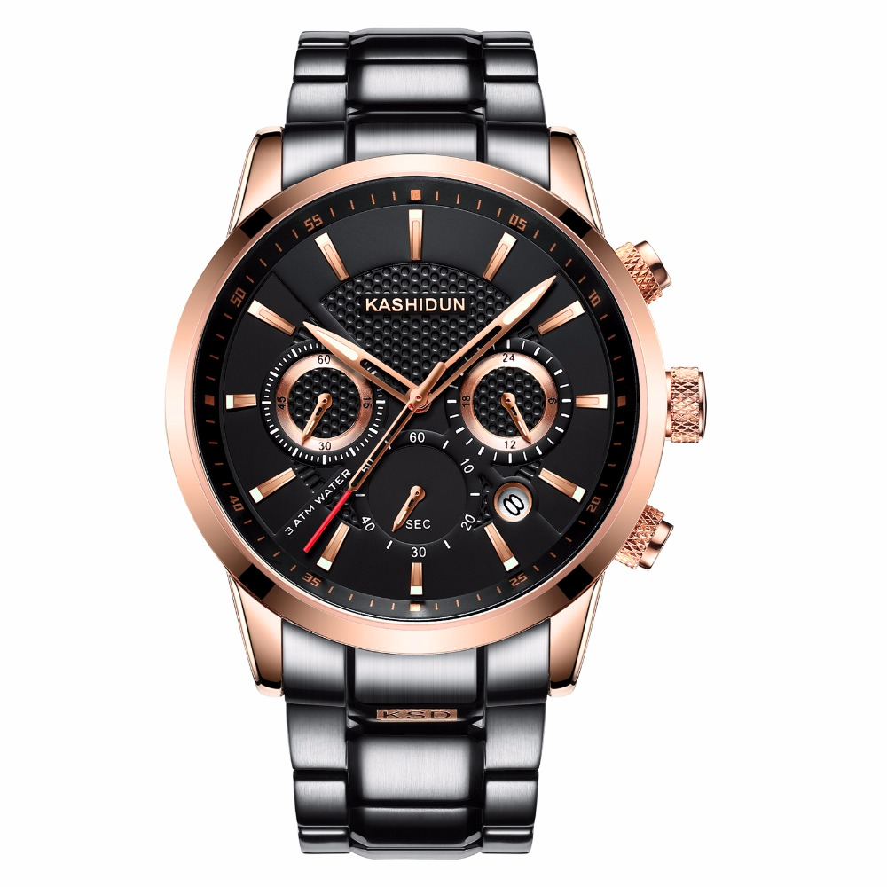 KASHIDUN font b Men s b font Watches Luxury Military Luminous Casual Wristwatch Fashion Chronograph Steel