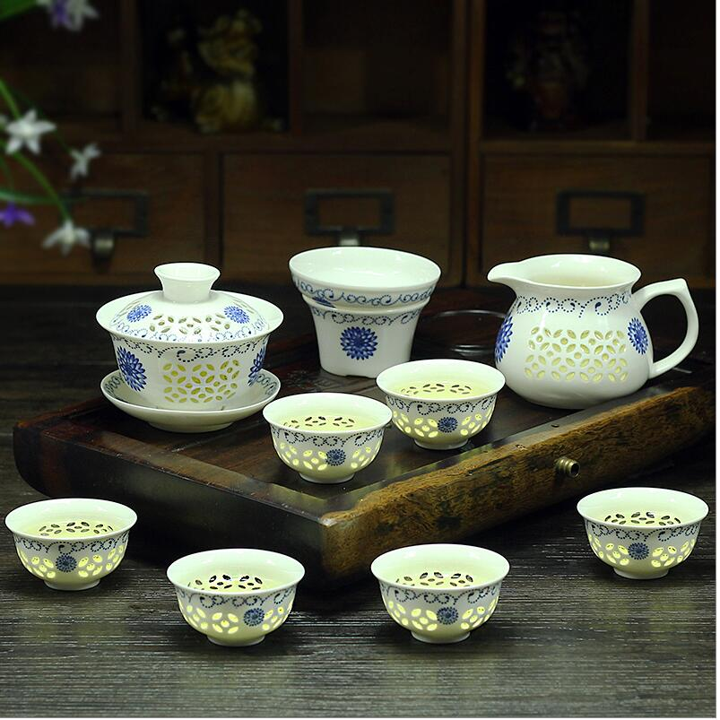 TeaPot 9 Pcs Kung Fu Tea Set,Ceramic Tea cup,Blue and White TeaPot,Bone China GaiWan,Tea Sea,Porcelain Filte,Tea service