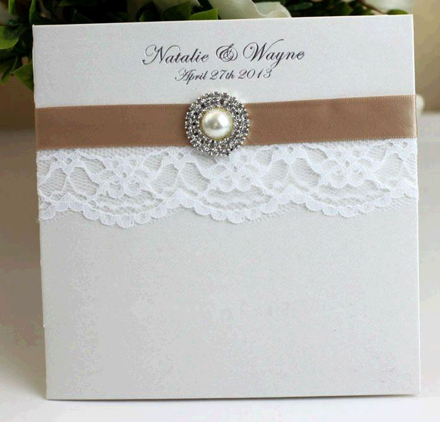 Embossed Wedding Invitation Paper Card Pearl Pocket Sleeves With