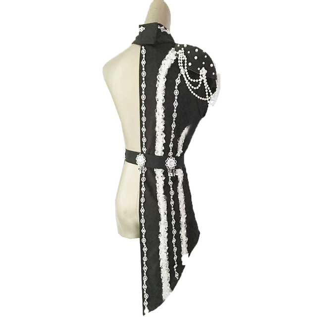 2020 nouveau Sexy paillettes noir rouge Patchwork scène danse Costumes femme chanteuse Ds Dj Costumes blanc perle chaîne collier danse vêtements