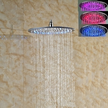 8″ 10″ 12″ 16″ LED Colors Chaging Shower Head Wall/Ceiling Mount Shower Faucet Head Sprayer