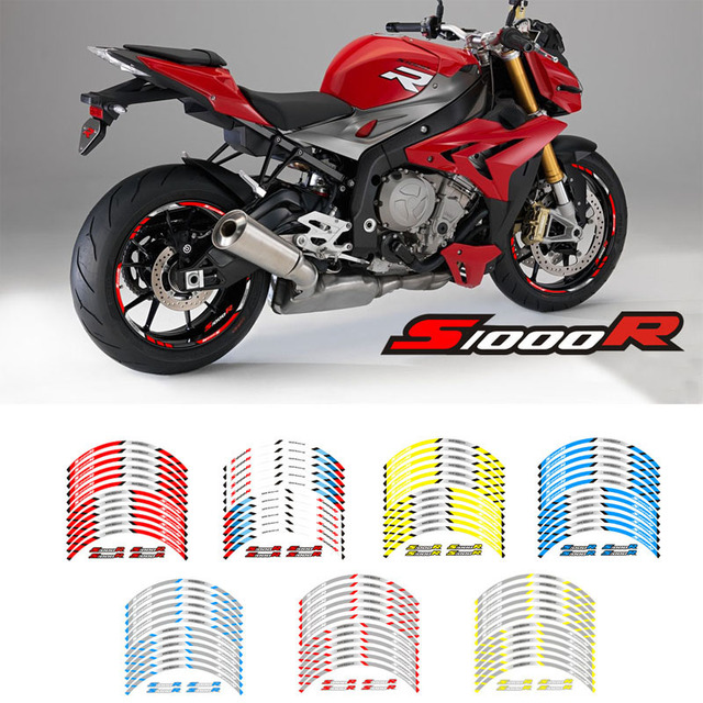 New high quality 12 Pcs Fit Motorcycle Wheel Sticker stripe Reflective  Rim For BMW S1000R