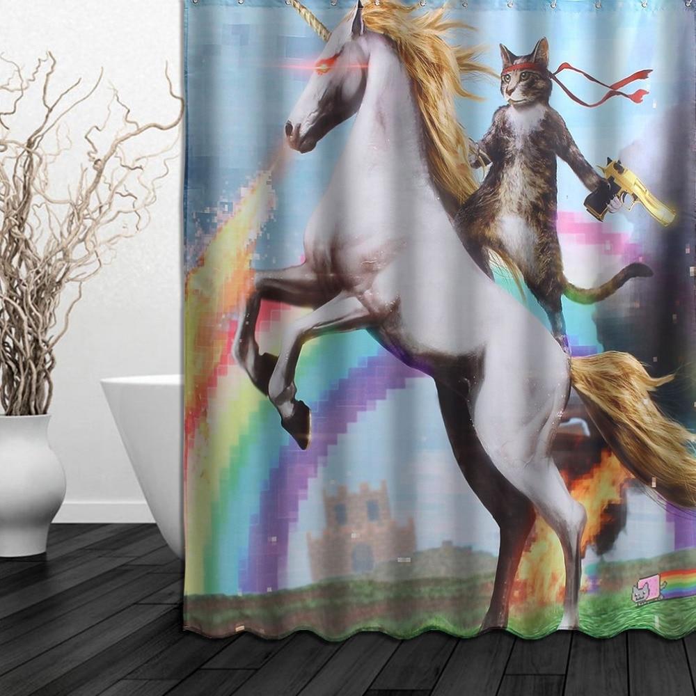 150x180 Cm Wasserdicht Duschvorhang Kreative Lustige Uni-winkel Tier Und Katze Muster Polyestergewebe Mit 12 Haken Für Bad