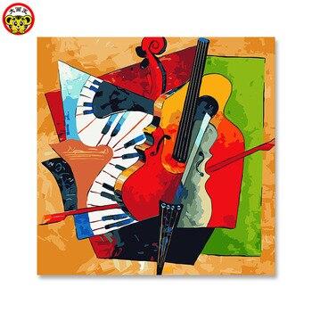 Malerei durch zahlen kunst farbe durch zahl abstraktion Abstrakt die gitarre Gerahmte Bilder DIY Hause Dekoration Für Wohnzimmer DIY