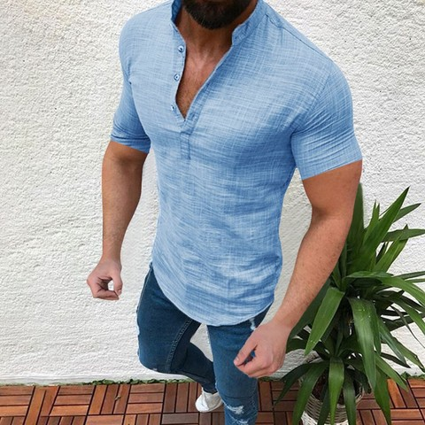 Shirts 2019 Linen Shirts Men Stand Collar V-neck Shirt Fashion Hawaiian Shirts Chemise Homme Men Clothes Camisa Masculina Karachi