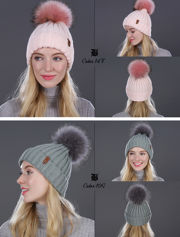 [FLB] Wholesale Real Mink Fur Pom Poms Knitted Hat Ball Beanies Winter Hat For Women Girl 'S Wool Hat Cotton Skullies Female Cap 28