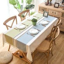 JaneYU Polyester Jacquard Imitation Cotton Hemp Embroidery Fringed Lace Geometric RectangularTea Table Cloth Tablecloth
