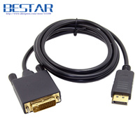 (50 peças/lote) 1.8 metros DisplayPort DP Macho para DVI 24 + 1 DVI-D Macho Único Link de Vídeo Cabo 6ft 1.8 m para monitor DVI