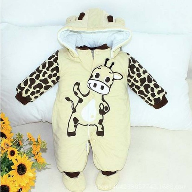 c401d0dd9ffc7 Hot Selling cartoon animal style cotton padded baby rompers infant warm cow  and beetle suit kid clothing free Shipping-in Rompers from Mother & Kids ...