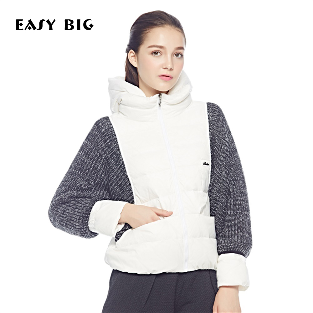 EASY BIG Women Down Coats Jackets Short Woman Down Parka With A Hat Fashion Female Winter Coat Girl Winter Collection MC0054 new winter women bomber jackets ladies cropped coats slim fit female coats with badge women outerwears