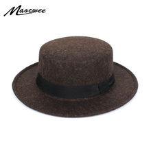 c8ab0caab45 New Fashion Wool Pork Pie Boater Flat Top Hat For Women s Men s Felt Wide  Brim Fedora