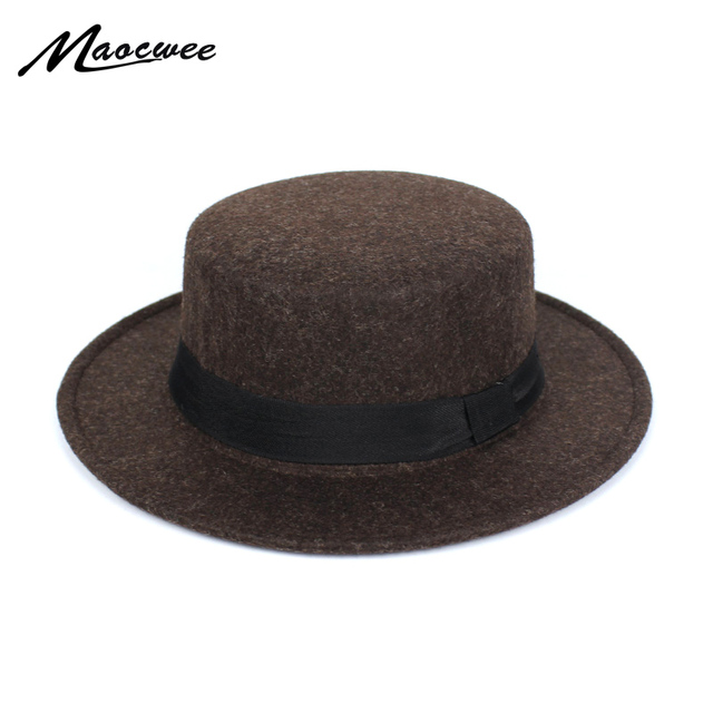 New Fashion Wool Pork Pie Boater Flat Top Hat For Women s Men s Felt Wide  Brim Fedora 9d0ead2867c
