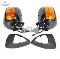 Черный ABS мотоцикл заднего вида Зеркала с оранжевым объектив указатель поворота чехол для HONDA GL 1800 f6b 2013 2017 2014 2015 2016