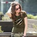New Pattern Female Tee Shirts Cotton Summer o-neck t-shirt Short Sleeved fashion Fit T Shirt Womens Tees M~3XL GS-8557A