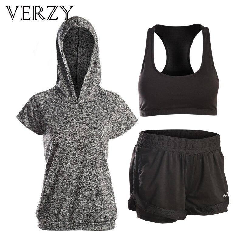 VERZY 2018 nuevo conjunto de Yoga para mujeres, Fitness, gimnasio, correr, medias, traje deportivo, chaqueta deportiva de manga corta + Conjunto de sujetador, entrenamiento profesional - 2