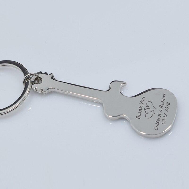 50x Benutzerdefinierte Schlüssel Kette Bier Flasche Opener Personalisierte Hochzeit Geschenk Party Favor Metall Silber Gitarre Geformt Schlüsselbund Flasche Opener-in Party-Geschenke aus Heim und Garten bei  Gruppe 2