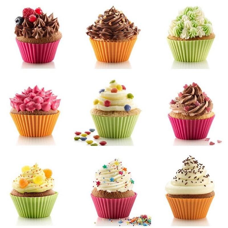 10 unids multicolor silicona cake delineador muffin cupcake tazas silicona moldes de la - Moldes cupcakes silicona ...