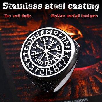 Beier 316L Stainless Steel Nordic Viking Ring Custom Rune beads Signet wolf Scandinavn Odin Symbol fashion Men Jewelry LR522