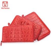 McParko Luxury Women Wallet Genuine leather crocodile clutch wallet alligator skin zipper purse red long money phone bag female