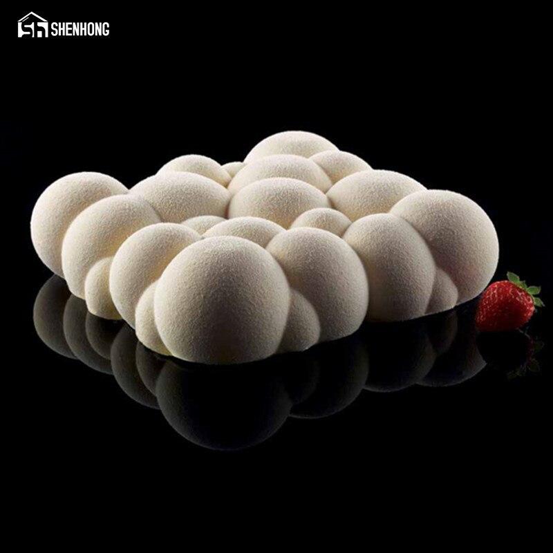 SHENHONG nube Irregular diseño de silicona molde de pastel 3D Cupcake Jelly Pudding galleta Muffin jabón molde DIY Moule herramientas para hornear