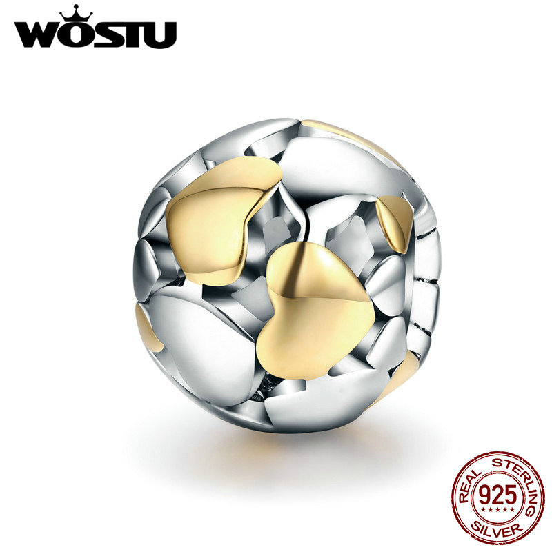 WOSTU 2018 NEW 925 Sterling Silver Luminous Heart & Gold Heart Charms Beads fit Charm Bracelet S925 Jewelry Lover Gift CQC537 gold plated rhinestone heart circle charm bracelet