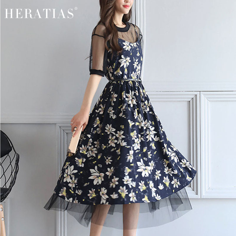 2017 Summer HOT-SELL Fashion Women Two-pieces Dresses Elegant Short Sleeve Floral Flowers Print Mesh Twinset Dress with Belt