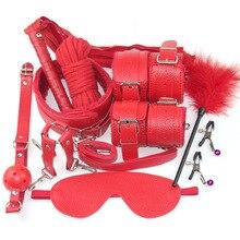 Красный БДСМ набор бандаж Сексуальное белье Горячая кружевная маска повязка на глаза + секс наручники для секс игрушек для пар Эротическое белье для женщин