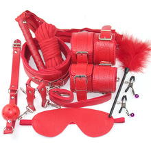 Red bdsm Set Bandage Sexy Lingerie Hot Lace Mask Blindfolded Patch + Sex Handcuffs For Sex Toys Couple Erotic Lingerie For Women