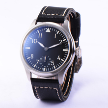 46mm Parnis 6498 Hand Winding Movement Black Dial Wrist Watch Men