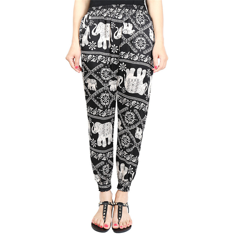 Loose Harem Pant High Waist Show Thin Printed Women's Wear Casual Ankle-Length Trousers Pockets 29