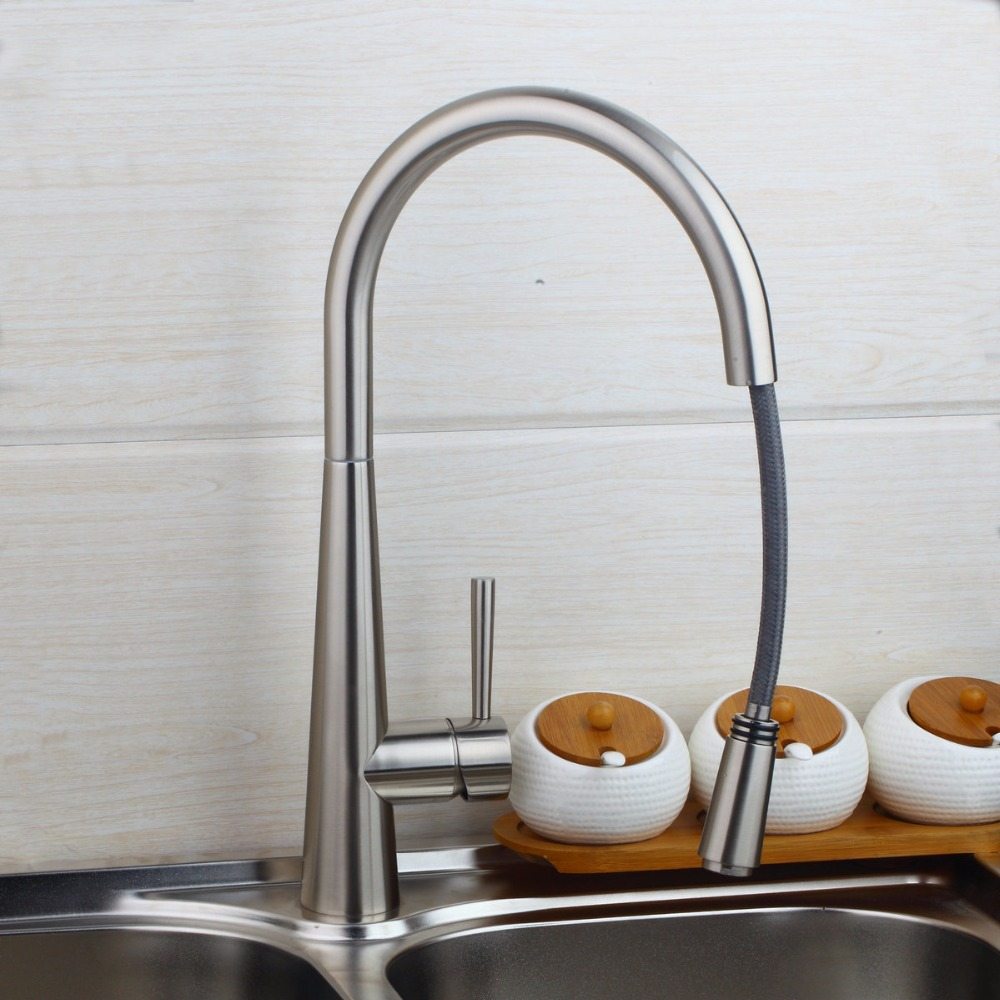 Wholesale And Retail Promotion NEW Pull Out Brushed Nickel Pull Out Kitchen Faucet Sink Mixer Tap Swivel Spout GYD-7117 good quality wholesale and retail chrome finished pull out spring kitchen faucet swivel spout vessel sink mixer tap lk 9907