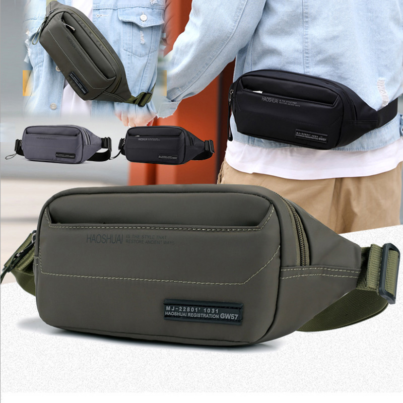 Men's Nylon Waist Fanny Pack Purse Pouch Casual Shoulder Messenger Bag Fashion Male Crossbody Chest Hip Bum Belt Bags