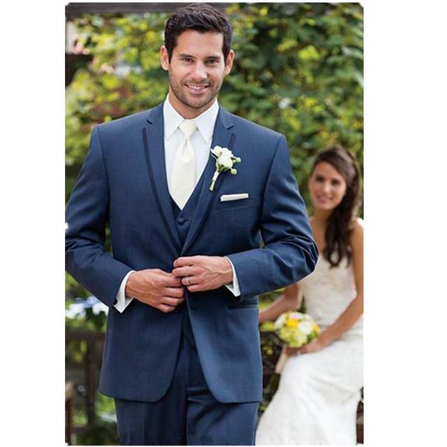 Newest Groom Tuxedo Groomsmen Blue tuxedos best mens suits Best Man ...