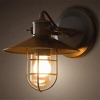Loft retro industrial wall lamp outdoor balcony Nordic creative vintage bedroom bedside E27 wall lamp aisle bar
