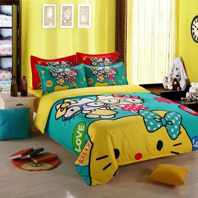100 polyester cartoon green yellow red hello kitty bedding set