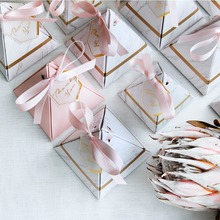 RMTPT 50PCS Europe Triangular Pyramid Style Candy Box Wedding Favors Party Supplies Paper Gift Boxes with THANKS Card & Ribbon